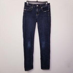 American Eagle Sz 6 Long Skinny Blue Jeans